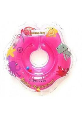 Colac de gat pentru bebelusi Babyswimmer Roz cu zornaitoare 0-24 luni