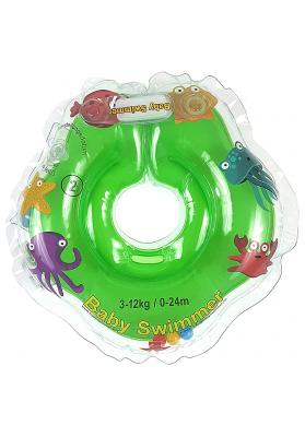 Colac de gat pentru bebelusi Babyswimmer Verde cu zornaitoare 0-24 luni