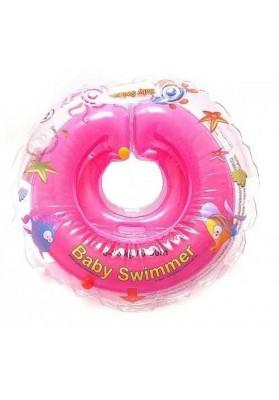 Colac de gat pentru bebelusi Babyswimmer Roz cu zornaitoare 6-36 luni