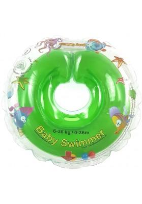 Colac de gat pentru bebelusi Babyswimmer Verde cu zornaitoare 6-36 luni