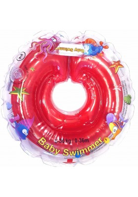 Colac de gat pentru bebelusi Babyswimmer Rosu cu zornaitoare 6-36 luni