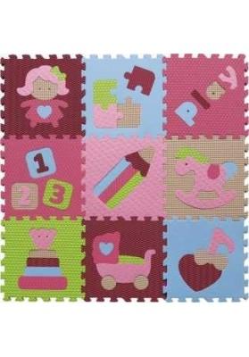 Babygreat Covoras Puzzle Jucarii vesele roz 92x92 cm