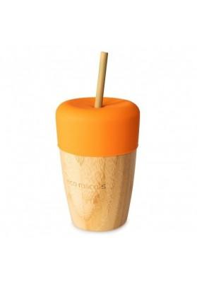 Pahar din bambus mare 240 ml, portocaliu, eco rascals
