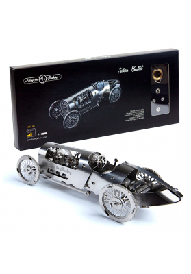 Kit Puzzle Mecanic 3D, Metal, TimeForMachine, Model Masina de Curse Vintage Silver Bullet