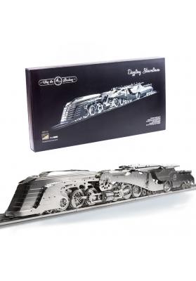 Kit Puzzle Mecanic 3D, Metal, TimeForMachine, Model Locomotiva Aburi Dazzling Steamliner