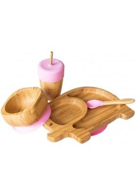 Set cadou din bambus Elefantel, roz, Ecorascals