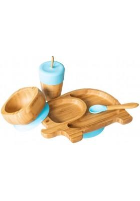 Set cadou din bambus Elefantel, albastru, Ecorascals