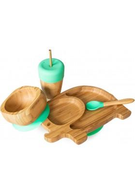 Set cadou din bambus Elefantel, verde, Ecorascals