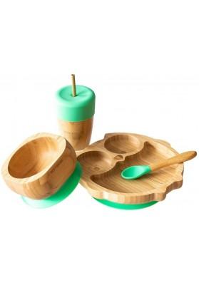 Set cadou din bambus Bufnita, verde, Ecorascals