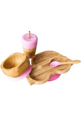 Set cadou din bambus Masinuta, roz, Ecorascals