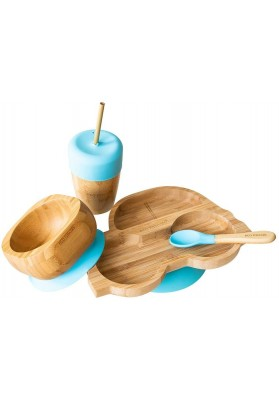 Set cadou din bambus Masinuta, albastru, Ecorascals