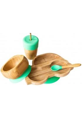 Set cadou din bambus Masinuta, verde, Ecorascals