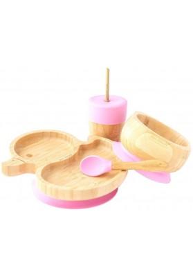 Set cadou din bambus Ratusca, roz, Ecorascals