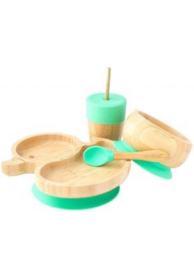 Set cadou din bambus Ratusca, verde, Ecorascals