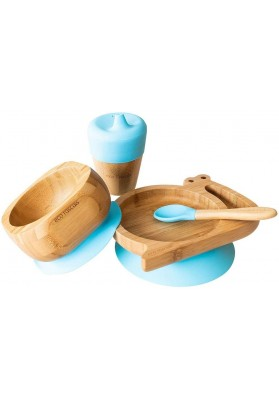 Set cadou din bambus Melc, albastru, Ecorascals