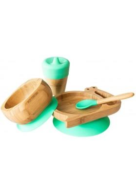 Set cadou din bambus Melc, verde, Ecorascals