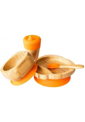 Set cadou din bambus Buburuza, portocaliu, Ecorascals