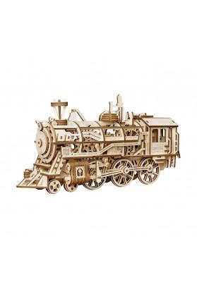 Puzzle 3D Locomotive, ROKR, Lemn, 349 piese